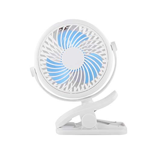 Rotation USB Aufladen Mini Clip Kleiner Ventilator tragbar,Himmel blau ()