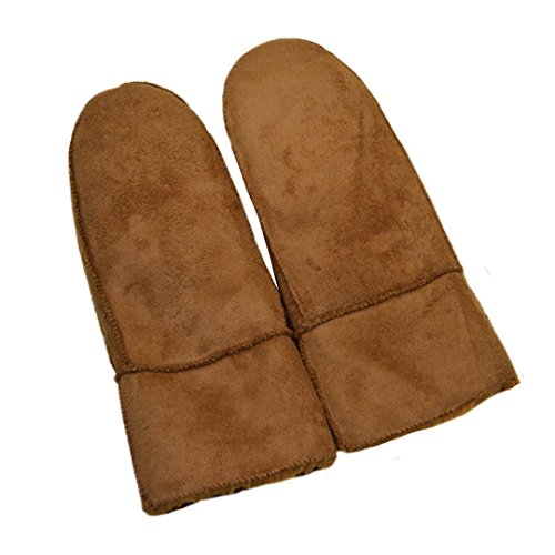 Yingniao Mens Suede Leather Thick Fleece Lining Warm Winter Gloves With Knit Cuff