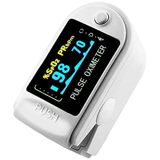 AVAX AV-50D - Fingerpulsoximeter (Finger Pulse Oximeter) -%SpO2 (Sauerstoffsättigung des Blutes) & Herzfrequenzmesser mit LED-Anzeige und Zubehör - WEISS