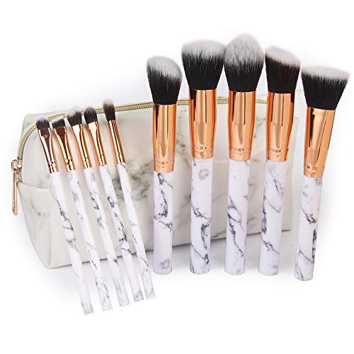 Lxmhz Pinceaux Maquillage,par marbre Beauté Maquillages Brosse avec marbre PU cosmétiques Outils Sacs 10 pièces