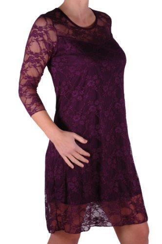 EyeCatch - Robe de soirée stretch mi longue motif floral dentelle grandes tailles - Jolene - Femme Pourpre
