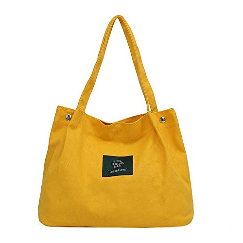 Bolso de Hombro de la Lección, Bolso de la Lona de Las Mujeres Bolso de Hombro bbag Bolso de Estilo japonés Bolso de diseño Simple Amarillo