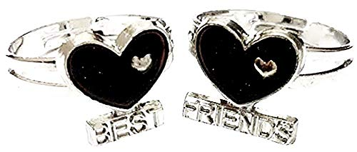 Set of 2 adjustable size rings with a heart that changes color with mood, written, best, friends, friends (girlfriends) - gift idea for man woman and girl