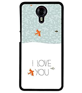 Fuson Premium Love Birds Metal Printed with Hard Plastic Back Case Cover for Micromax Canvas Xpress 2 E313