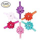 SHELE Baby Girls Lotus Flower Headbands Infant Crystal Hair Band Headwrap (A(6PCS/Set))