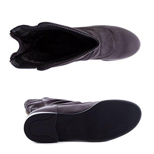 Damen Schlupf Stiefeletten Boots in Lederoptik mit Reißverschluss Grau Wildlederoptik