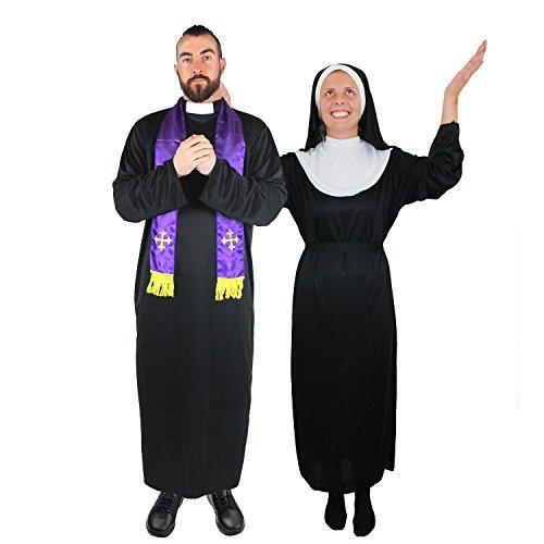 PRIESTER UND NONNE = PAARE VERKLEIDUNG = PERFEKT FÜR JEDE ART VON VERKLEIDUNGS PARTY = KOSTÜM ZUR VERKLEIDUNG ALS BISCHOF-KARDINAL ODER PRIESTER MIT SEINER MUTTER OBERIN = BEIDE KOSTÜM SIND ERHALTBAR IN VERSCHIEDENEN GRÖSSEN= VON ILOVEFANCYDRESS® = PRIESTER-MEDIUM+ NONNE-MEDIUM (Verschiedene Arten Von Engel Kostüme)