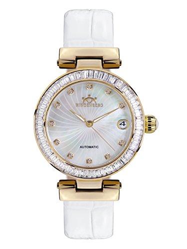 Hindenberg 360-H Grand Lady gold perlmutt mit Lederarmband Damen Automatik Armbanduhr