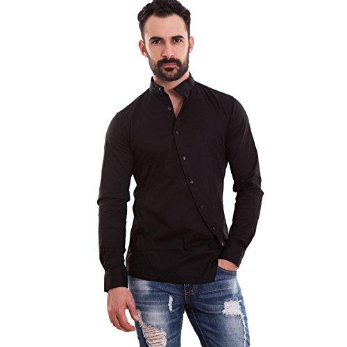 Toocool - camicia uomo slim fit coreana bottoni trasversali obliqui aderente nuova 150233 [s,nero]