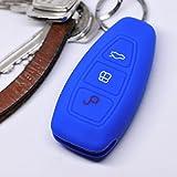 Soft Case Schutz Hülle Auto Schlüssel FORD C-Max S-Max B-Max Galaxy Focus Mondeo Fiesta Kuga Smartkey Remote / Farbe: Dunkelblau