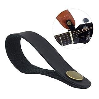 Acoustic Guitar Neck Strap Button Headstock Adapter Synthetisches Leder mit Metall -Befestigungselemente Guitar Parts && Zubehör (schwarz)