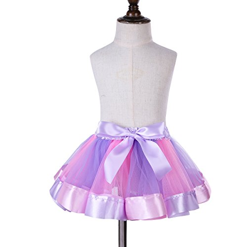 CHICTRY Girls Toddler Colorful Layered Tutu Dresses Rainbow Ballet Party Skirt Bow Dance Ruffle