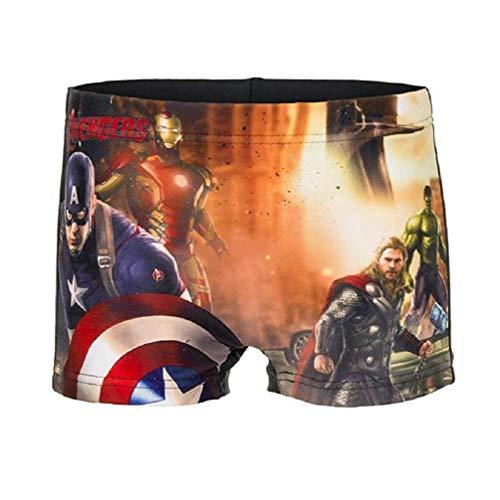 Marvel Avengers Captain America, Ironman, Thor und Hulk Kinder Badehose Schwarz, Größe:116 (6 A) (Kinder Für America-kleidung Captain)