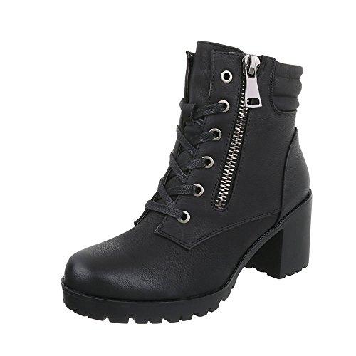 Schnürstiefeletten Damen-Schuhe Klassischer Stiefel Blockabsatz Schnürer Schnürsenkel Ital-Design Stiefeletten Schwarz, Gr 39, Bh67-Kb-