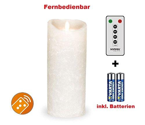 Sompex 35742Flame–Vela LED blanco Frost (Frosted Blanco/Blanco Escarchado) 8x 23cm, con mando a distancia y 2pilas. Bundle Incluye mando a distancia y pilas.