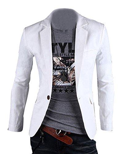Herren Anzug Business Slim Fit Hochzeit Jacke Lässige Sakko Blazer Weiß L