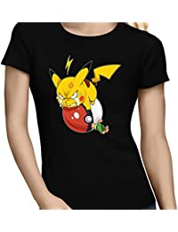 T-Shirt Parodie Pokémon - Pikachu en mode Super vénère contre Sasha :) - Grrrr, Vengeance !!!! :) - T-shirt Femme Noir - Haute Qualité (891)