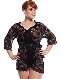 db327f479a LvRao Donna Sexy Floreale Pizzo Mesh Hollow Transparent Pigiama Mini Vestito  Intimo Lingerie Kimono Camicie da
