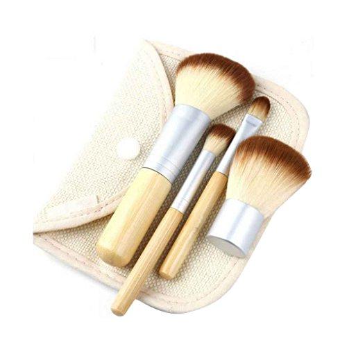 ELENXS New 11pcs 4Pcs Maquillage Bambou Brosses cosmétiques Correcteur Pinceau Fard à Paupières Fard à Joues Kit Femmes Sourcils Eyeliner Fondation Outil 4pcs