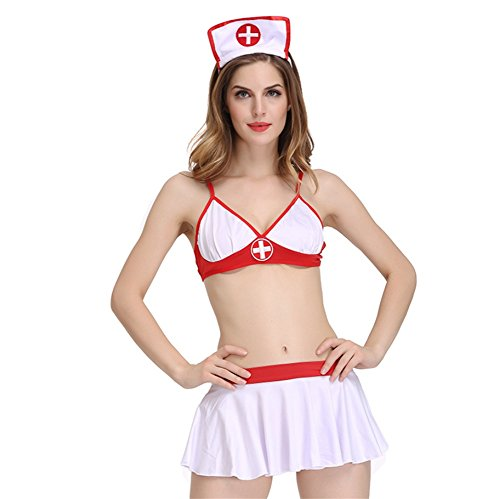 us-Vêtements Femelle Lingerie Ensembles Infirmière Tentation uniforme Halloween Cosplay Jeu Adulte Provisions, Weiß, m ()