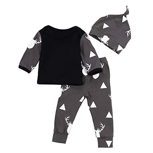 Leggings Kostüm Schwarzen Mit - LABIUO Kleinkind Baby Jungen Kleidung,Beiläufiges Deer Tops T Shirt +Hosen Leggings Kinder Kostüm Mit Kapuze 3 Teiliges Set(Schwarz,12M\90)