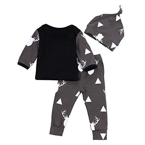 LABIUO Kleinkind Baby Jungen Kleidung,Beiläufiges Deer Tops T Shirt +Hosen Leggings Kinder Kostüm Mit Kapuze 3 Teiliges Set(Schwarz,12M\90) (Kostüm Mit Schwarzen Leggings)