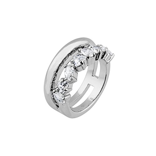 Joop! Damen-Ring rhodiniert Zirkonia weiß Gr. 56 (17.8)-JPRG00007A180