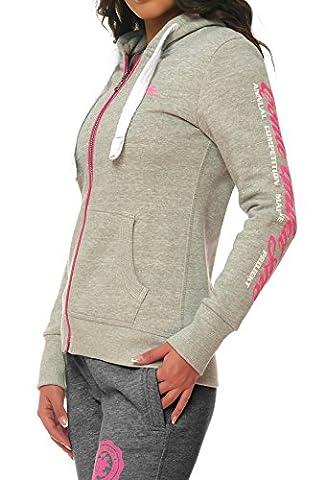 M.Conte Rachel Damen Hooded Sweater Sweat-Shirt-Jacke S M L XL Weiss Blau Grau Schwarz Pink Mit Kapuze Ice Grau