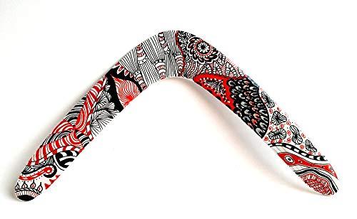 Boomerang de madera, diseño Zentangle Doodle Mandala. Deporte, ocio, regalo y decoración. Apto para adultos y niños desde 10 años. Ideal regalo boda, cumpleaños, celebración,comunión.
