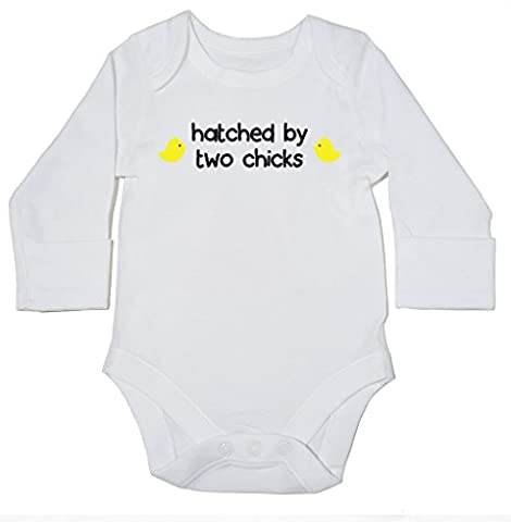 HippoWarehouse Hatched By Two Chicks baby bodysuit (long sleeve) boys girls