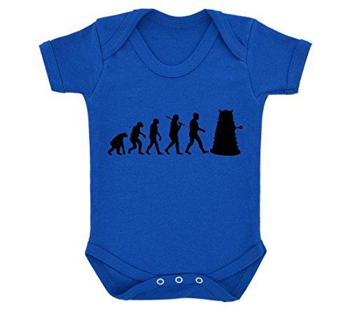 Evolution of a Cyborg Mutant Design Baby Body Royal Blau mit schwarzem Print Gr. 6-12 Monate, königsblau