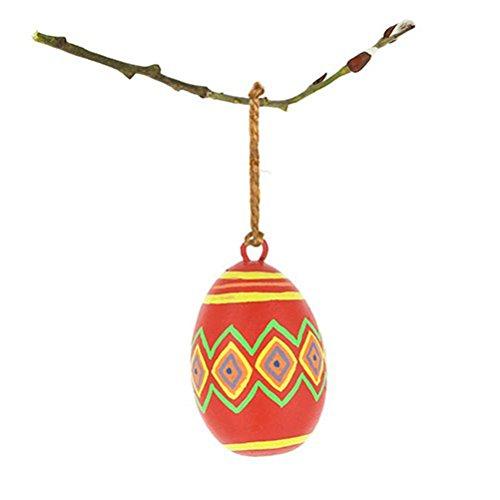 Osterdeko - Ei zum Aufhängen aus Mangoholz - 4,5 x 7 cm - Fair Trade (gelb-rot-grün)