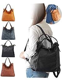 Damen Umhängetasche, Brenice Rindsleder Tote Handtaschen Vintage Multifunktions Rucksack Schultertaschen Crossbody Tasche für Frauen