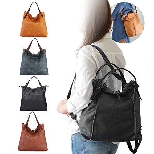 Damen Umhängetasche, Brenice Rindsleder Tote Handtaschen Vintage Multifunktions Rucksack Schultertaschen Crossbody Tasche für Frauen Schwarz