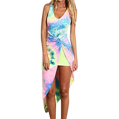 Lucky Mall Frauen Mode Farbdruck Sexy Kleid mit Unregelmäßiger Saum, Sommer Lässiges Kleid Damen Ärmellos Minikleid Strandrock Club Kleid Festkleid Urlaubsrock