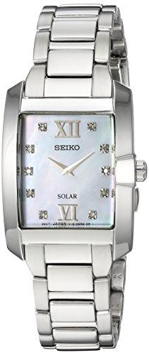 Seiko De Las Mujeres De Diamante De Cuarzo Acero Inoxidable Casual Reloj Solar, Color: Silver-Toned (Modelo: sup377)