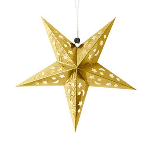 Faltsterne,BBTXS Weihnachtsstern Papiersterne Papierstern Romantische Weihnachten String Hanging Charm Star Party Dekoration Weihnachtsbaum Ornament (Gold)