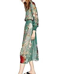 TT Vestido de manga larga de gasa de flores impreso verde alrededor del cuello de las mujeres , green , m