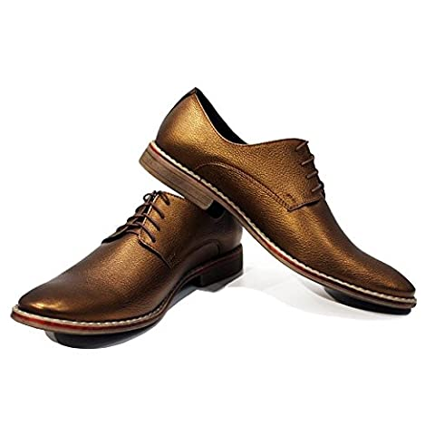 Modello Triest - UK 5 - Handmade Italian Leather Mens Gold Oxfords Dress Shoes - Calfskin Smooth Leather -
