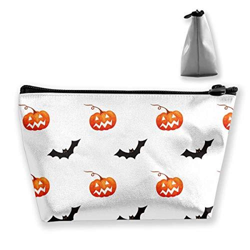 Halloween Kürbis Fledermaus Muster Trapez Frauen Kosmetiktaschen Multifunktionswäsche Aufbewahrungstasche