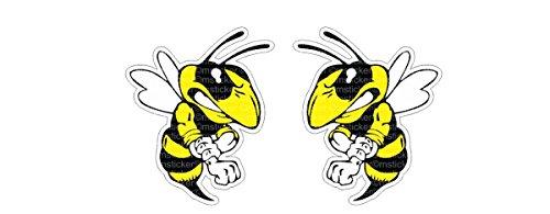 Böse Biene angry Bee Aufkleber Sticker Autocollants Pegatinas / Plus Schlüsselanhänger aus Kokosnussschale/ digital Druck Ski-Doo Hornets Auto Car Bike Motorrad Bike JDM Dub Vag Tuning Laptop