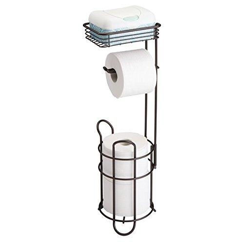 mDesign Portarrollos de papel higiénico con estante – Elegante dispensador de papel higiénico de metal – Porta rollos de pie con espacio para 3 rollos de papel higiénico – bronce