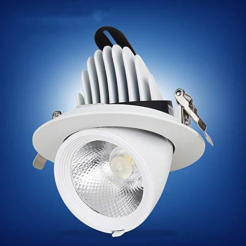 Mogicry Kreative Dimmable Spotlight Weiß 5/7/10/12/15/30/40W Haushalt Spotlamp COB Aluminium Runde LED-Panel Licht Einstellbare Embedded-Deckenleuchte LED Drehbare Deckeneinbauleuchte