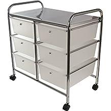 Servire e carrello cassetto carrello armadio con rotelle e ideale per cucina, bagno, ufficio, salone di bellezza parrucchiere. In acciaio INOX e plastica cassetti, 6 x Drawer