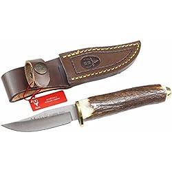 Cuchillo de caza Muela Serie SH SH-8, puño de asta de ciervo y latón, peso 70 gramos, hoja de 7 cm + tarjeta multiusos de regalo