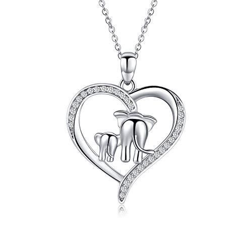 KINGWHYTE Kette Damen Herz Elefant Anhänger 925 Sterling Silber Halskette für Frauen Mutter und Baby Elefanten Schmuck für Mama