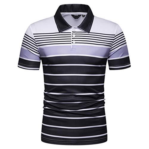 Herren Slim Fit Hemd PL38 2019 Neu Fashion Drucken Shorthemd Fitted Revers Freizeithemd Kurzarm Businesshemd Shortsleeve (XL, Grau)