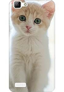 Amez designer printed 3d premium high quality back case cover for Vivo V1 (starring kitten )