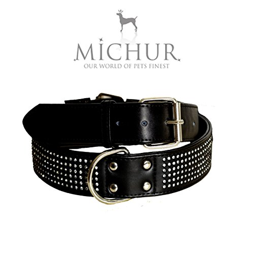 Michur Scarlett Black leather collar with rhinestones for dogs available in different sizes