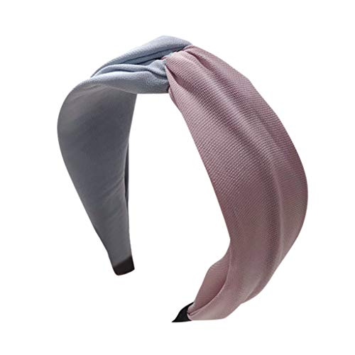 QIMANZI Damen Stirnbänder Breit Haarbänder Turban Verdreht Vintage Lässige Knot Einfarbig Haarschmuck Kontrastfarblich abgestimmter Haken mit breitem Stirnband(A)